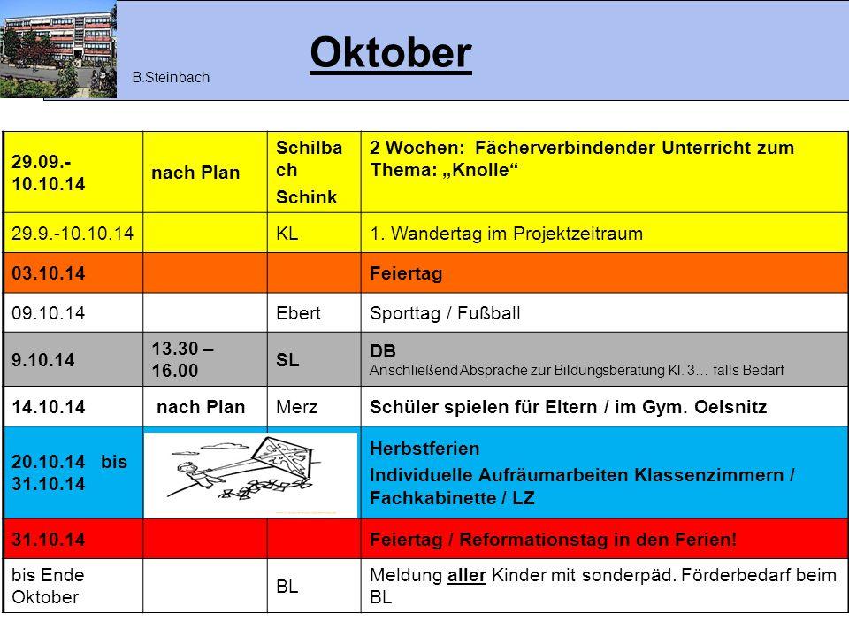 """Oktober 29.09.- 10.10.14 nach Plan Schilba ch Schink 2 Wochen: Fächerverbindender Unterricht zum Thema: """"Knolle"""" 29.9.-10.10.14KL1. Wandertag im Proje"""