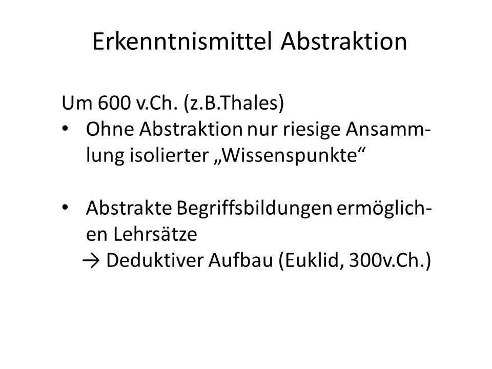 Erkenntnismittel Abstraktion Um 600 v.Ch.