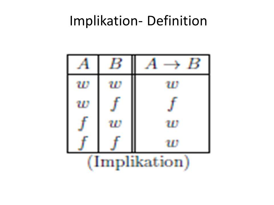 Implikation- Schülersicht A: 2 < 5 B: 2 < 6 A → B Schüler: Wahr A: 2 > 5 B: 2 > 6 A → B Schüler: Falsch A: 2 > 5 B: 2 < 6 A → B Schüler: W/F?