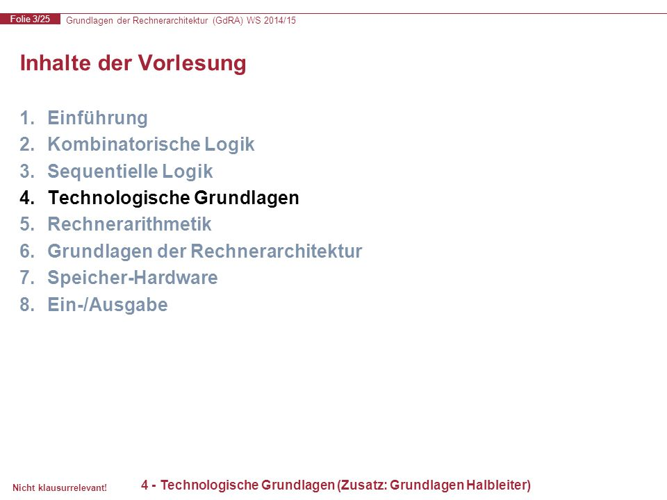 Grundlagen der Rechnerarchitektur (GdRA) WS 2014/15 Folie 3/25 Nicht klausurrelevant! 4 - Technologische Grundlagen (Zusatz: Grundlagen Halbleiter) In