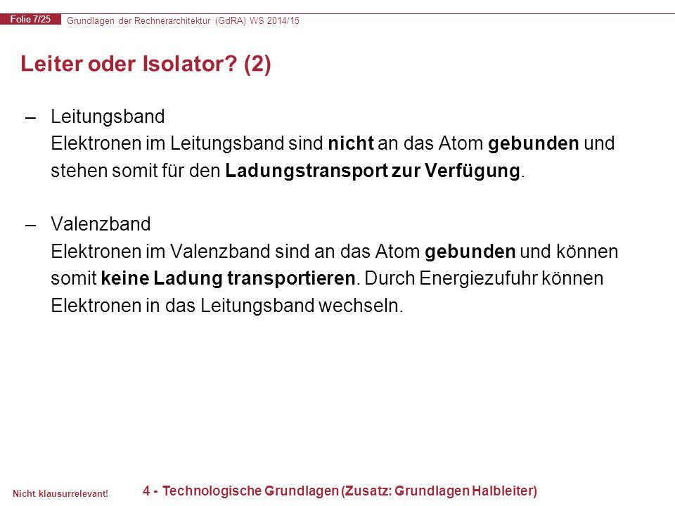 Grundlagen der Rechnerarchitektur (GdRA) WS 2014/15 Folie 7/25 Nicht klausurrelevant! Leiter oder Isolator? (2) 4 - Technologische Grundlagen (Zusatz: