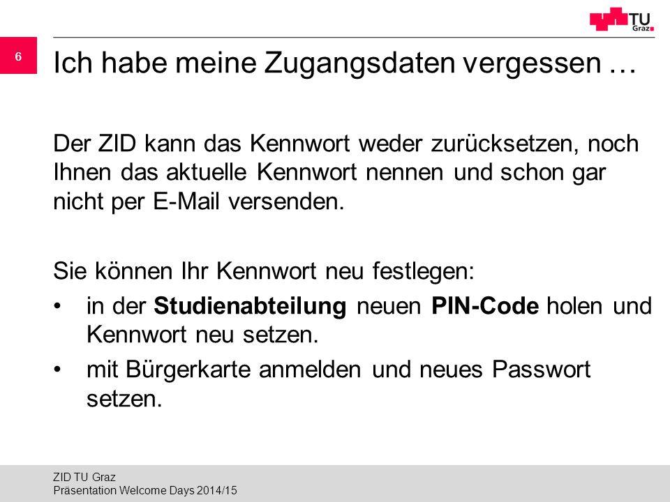 """17 Kabelloser Internetzugang (WLAN) 3/3 Variante 2: WLAN """"tug-wpa mit 802.1X WPA ►Name des WLAN-Netzwerkes (SSID): tug-wpa ►Authentifizierter Zugang zum Internet mittels 802.1x-Fähigkeit moderner Betriebssysteme ► Dem Zertifikat des Authentifizierungsservers muss vertraut werden (radius03.tugraz.at) » www.zid.tugraz.at/netzwerk/zugang/802.1xwww.zid.tugraz.at/netzwerk/zugang/802.1x Präsentation Welcome Days 2014/15 ZID TU Graz"""