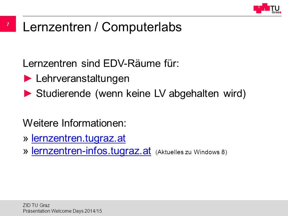 """18 Virtuelles Privates Netzwerk (VPN) VPN ermöglicht es, Computer von """"außerhalb in das Netzwerk der TU Graz einzubinden Notwendig für:  Verwendung freier Netzwerkdosen  Verwendung des WLANs """"tug  Zugriff auf Bibliotheksdienste von Extern  Nutzung bestimmter Software von außer Haus » www.vpn.tugraz.atwww.vpn.tugraz.at Präsentation Welcome Days 2014/15 ZID TU Graz"""