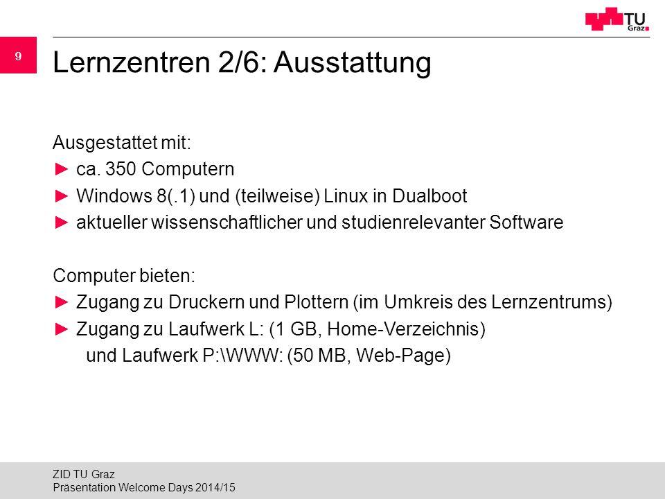 99 Lernzentren 2/6: Ausstattung Ausgestattet mit: ► ca. 350 Computern ► Windows 8(.1) und (teilweise) Linux in Dualboot ► aktueller wissenschaftlicher