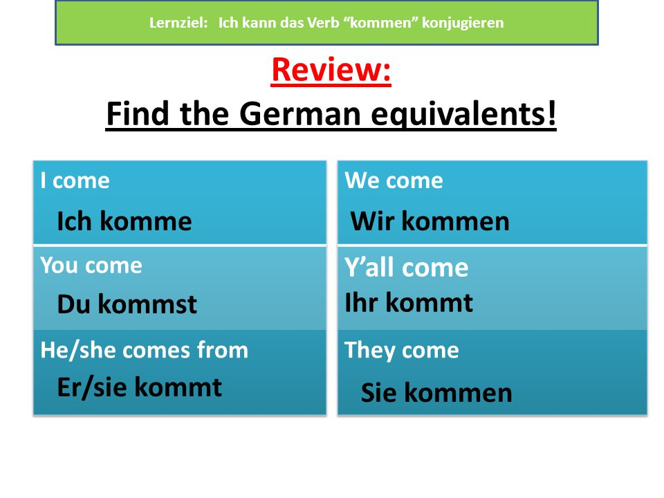 Review: Find the German equivalents.