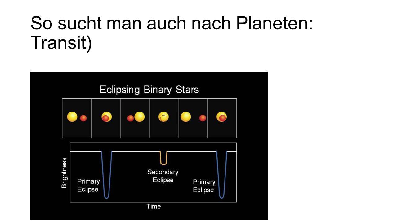 So sucht man auch nach Planeten: Transit)