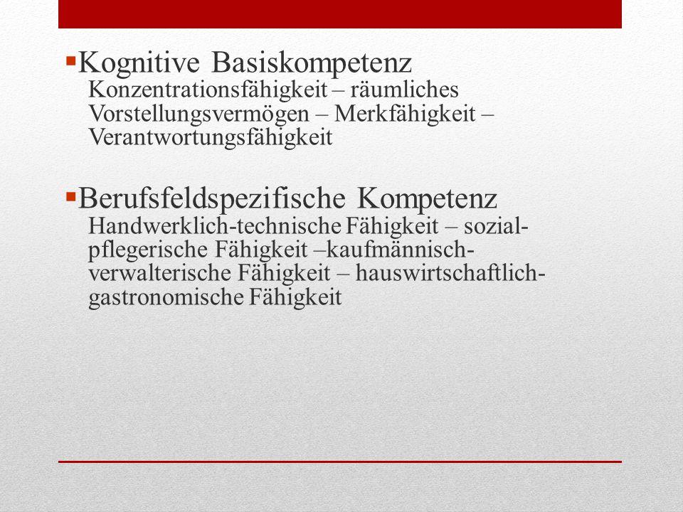  Kognitive Basiskompetenz Konzentrationsfähigkeit – räumliches Vorstellungsvermögen – Merkfähigkeit – Verantwortungsfähigkeit  Berufsfeldspezifische