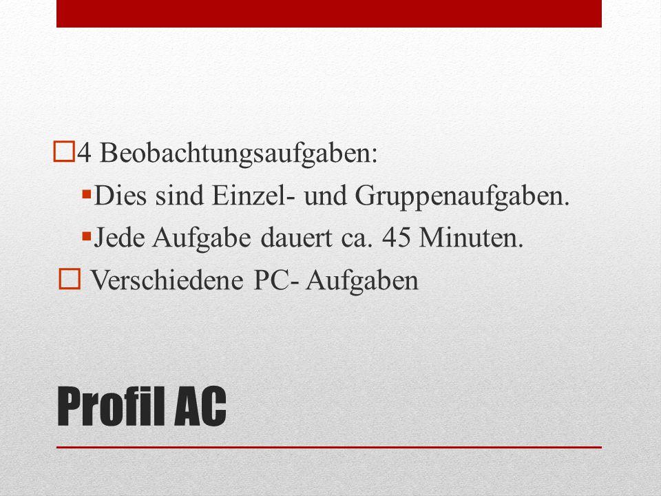 Profil AC  4 Beobachtungsaufgaben:  Dies sind Einzel- und Gruppenaufgaben.  Jede Aufgabe dauert ca. 45 Minuten.  Verschiedene PC- Aufgaben