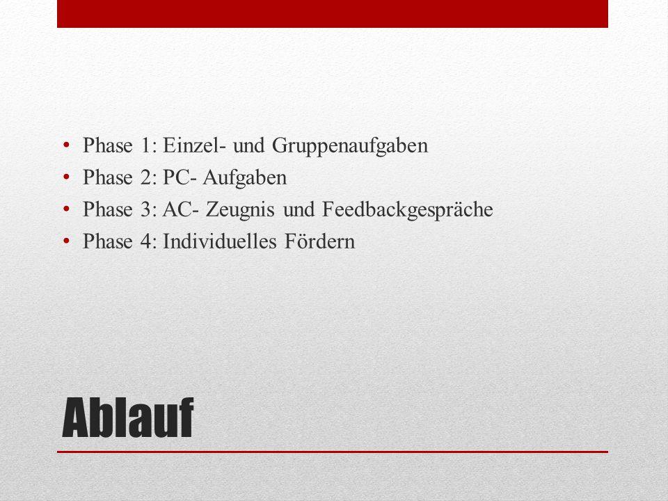 Ablauf Phase 1: Einzel- und Gruppenaufgaben Phase 2: PC- Aufgaben Phase 3: AC- Zeugnis und Feedbackgespräche Phase 4: Individuelles Fördern
