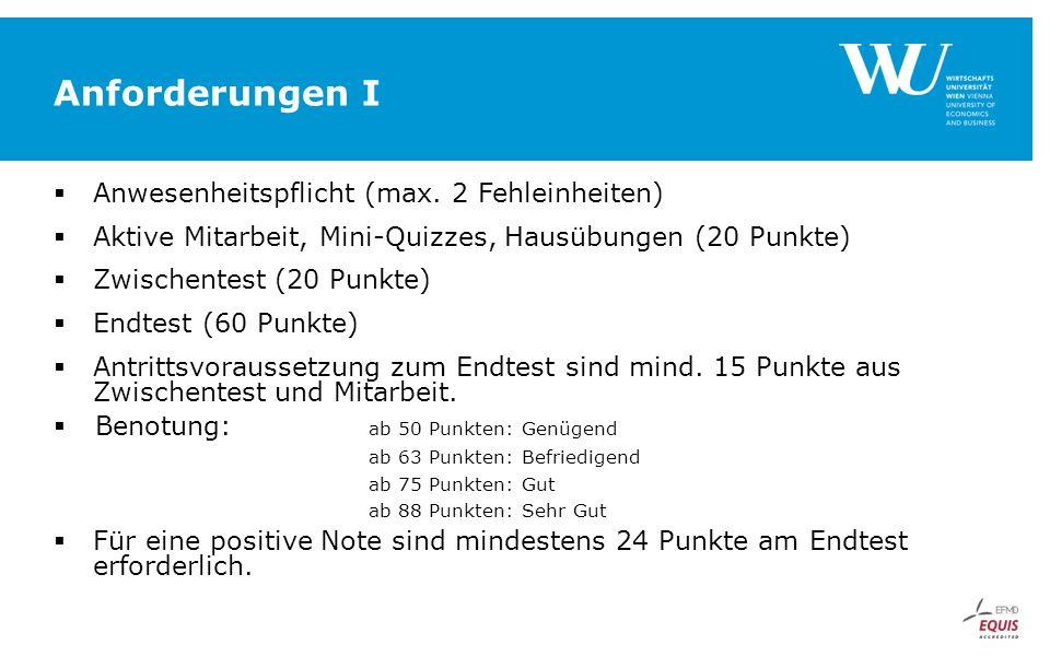 Anforderungen I  Anwesenheitspflicht (max. 2 Fehleinheiten)  Aktive Mitarbeit, Mini-Quizzes, Hausübungen (20 Punkte)  Zwischentest (20 Punkte)  En