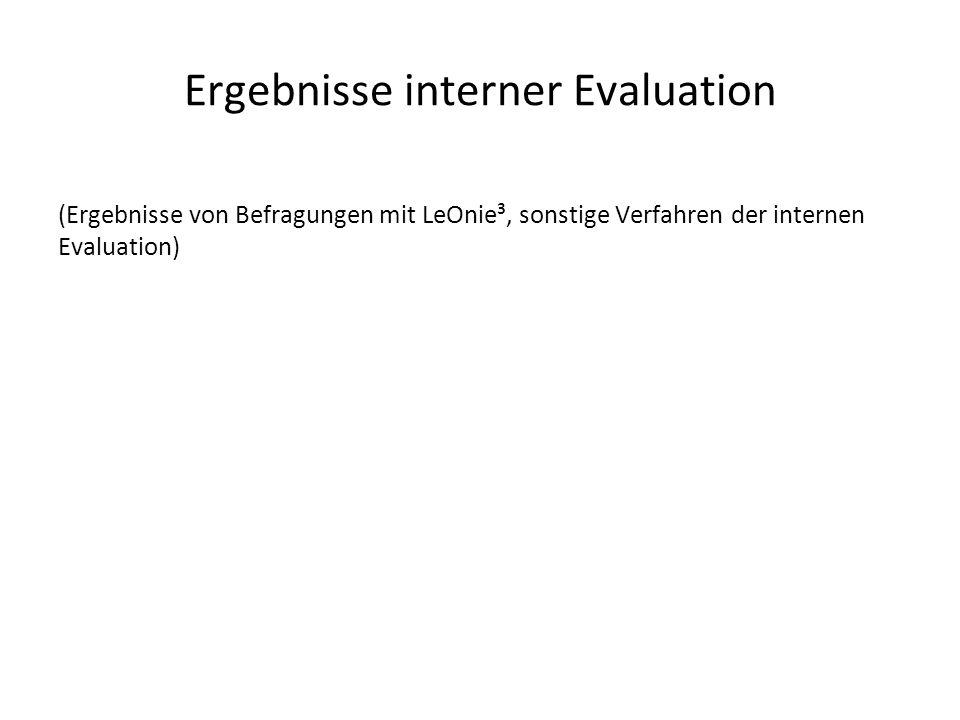 Ergebnisse interner Evaluation (Ergebnisse von Befragungen mit LeOnie³, sonstige Verfahren der internen Evaluation)