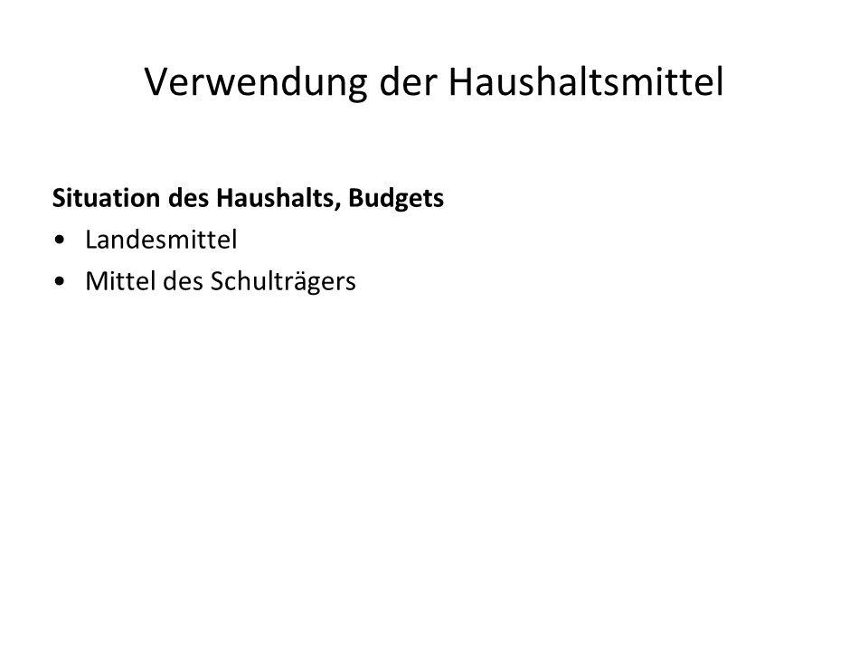 Verwendung der Haushaltsmittel Situation des Haushalts, Budgets Landesmittel Mittel des Schulträgers