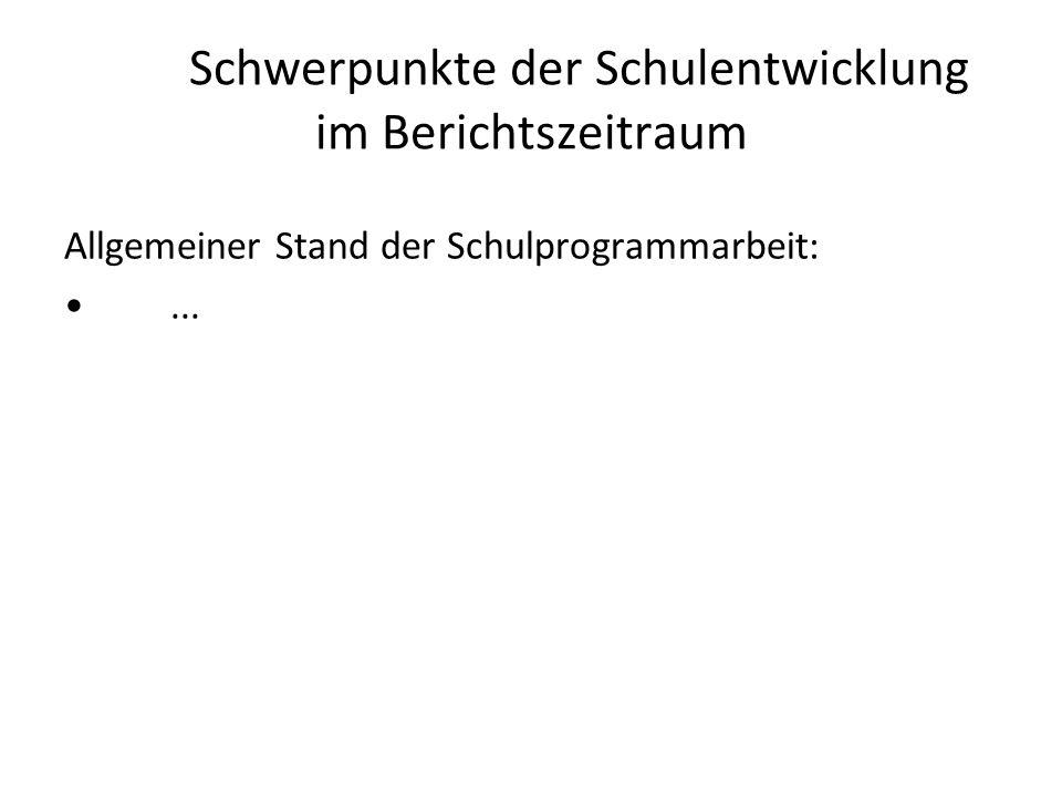 Schwerpunkte der Schulentwicklung im Berichtszeitraum Allgemeiner Stand der Schulprogrammarbeit:...