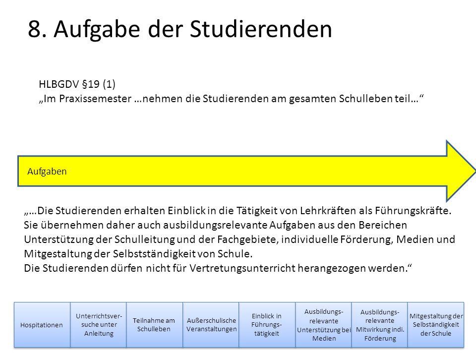"""9 Abschluss HlbGDV §19 (6) Schule """"Die Praktikumsschule stellt der Praktikumsbetreuerin oder dem Praktikumsbetreuer einen schriftlichen Würdigungsbeitrag über die Leistungen der oder des Studierenden in den Bereichen nach Abs."""
