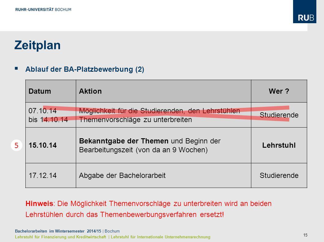 15 Bachelorarbeiten im Wintersemester 2014/15 | Bochum Lehrstuhl für Finanzierung und Kreditwirtschaft | Lehrstuhl für Internationale Unternehmensrech