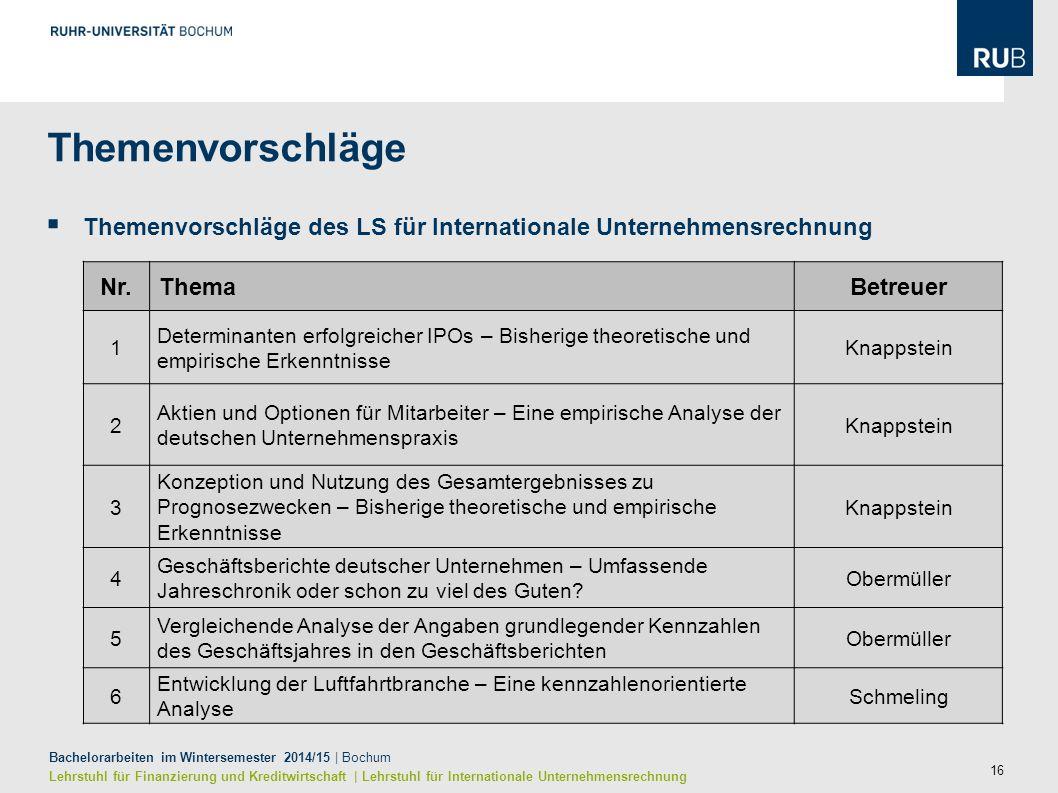 16 Bachelorarbeiten im Wintersemester 2014/15 | Bochum Lehrstuhl für Finanzierung und Kreditwirtschaft | Lehrstuhl für Internationale Unternehmensrech