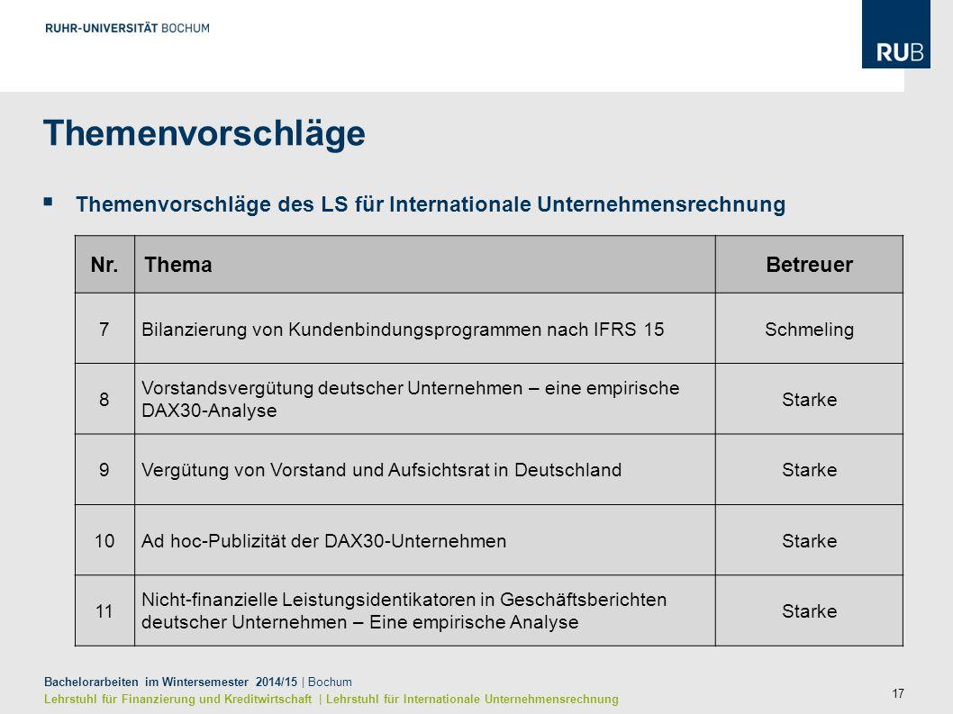 17 Bachelorarbeiten im Wintersemester 2014/15 | Bochum Lehrstuhl für Finanzierung und Kreditwirtschaft | Lehrstuhl für Internationale Unternehmensrech
