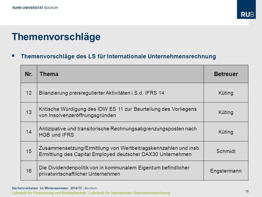 18 Bachelorarbeiten im Wintersemester 2014/15 | Bochum Lehrstuhl für Finanzierung und Kreditwirtschaft | Lehrstuhl für Internationale Unternehmensrech