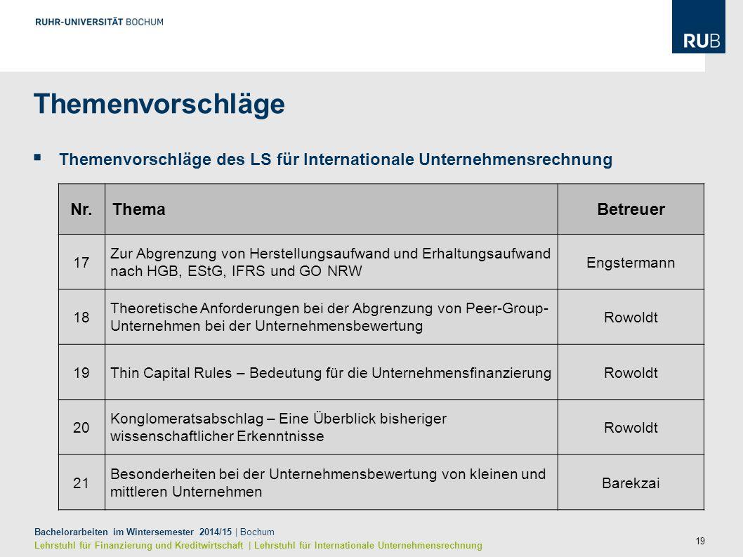 19 Bachelorarbeiten im Wintersemester 2014/15 | Bochum Lehrstuhl für Finanzierung und Kreditwirtschaft | Lehrstuhl für Internationale Unternehmensrech