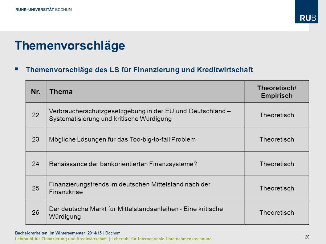 20 Bachelorarbeiten im Wintersemester 2014/15 | Bochum Lehrstuhl für Finanzierung und Kreditwirtschaft | Lehrstuhl für Internationale Unternehmensrech