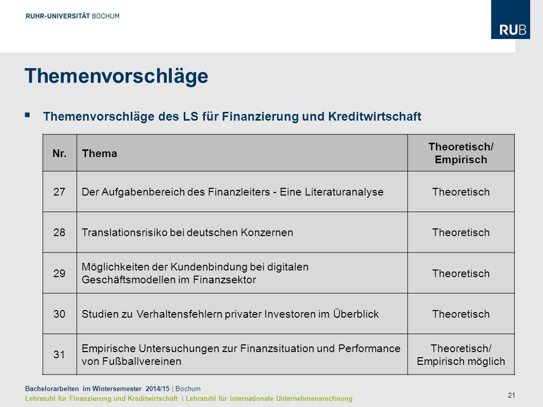 21 Bachelorarbeiten im Wintersemester 2014/15 | Bochum Lehrstuhl für Finanzierung und Kreditwirtschaft | Lehrstuhl für Internationale Unternehmensrech