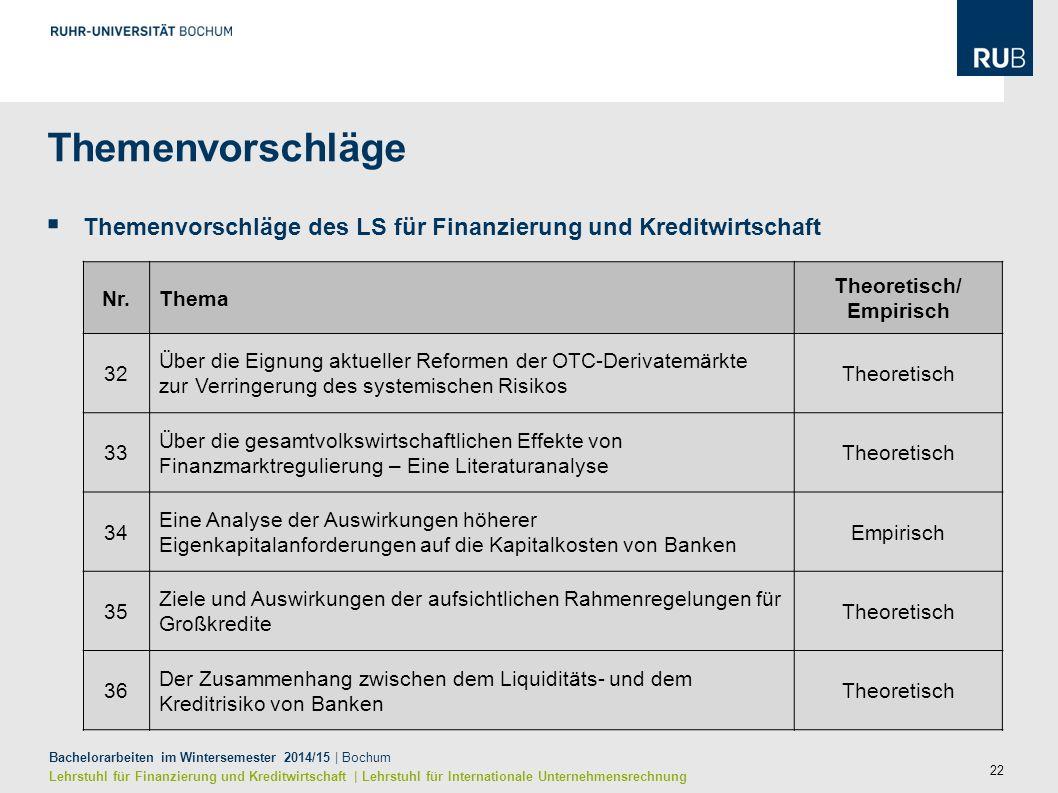 22 Bachelorarbeiten im Wintersemester 2014/15 | Bochum Lehrstuhl für Finanzierung und Kreditwirtschaft | Lehrstuhl für Internationale Unternehmensrech