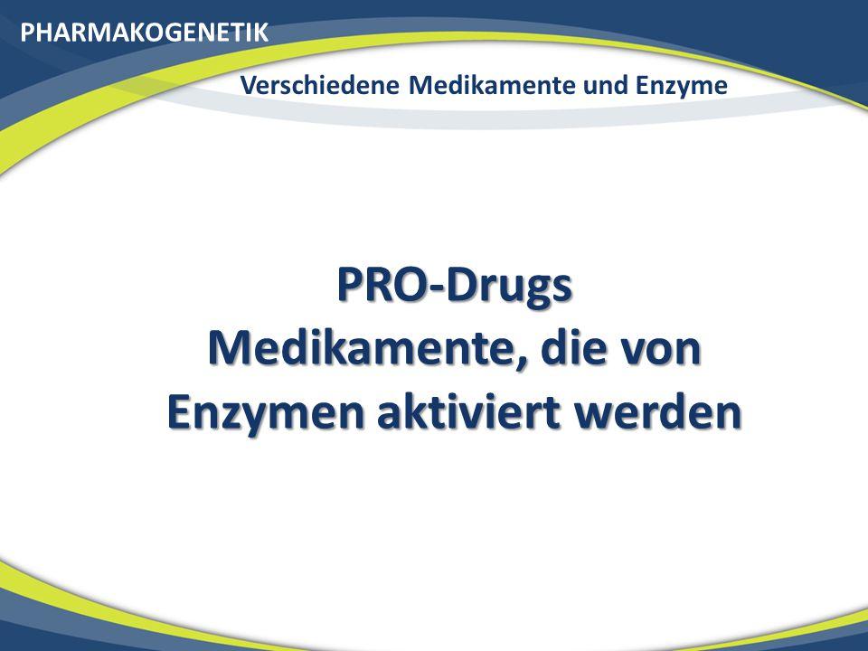PHARMAKOGENETIK Verschiedene Medikamente und Enzyme PRO-Drugs Medikamente, die von Enzymen aktiviert werden