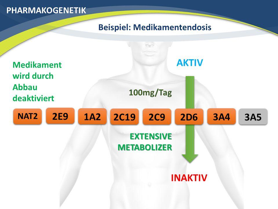 PHARMAKOGENETIK Beispiel: Medikamentendosis 3A42C192E9 NAT2 AKTIV 2C91A22D6 EXTENSIVE METABOLIZER INAKTIV 100mg/Tag Medikament wird durch Abbau deaktiviert 3A5