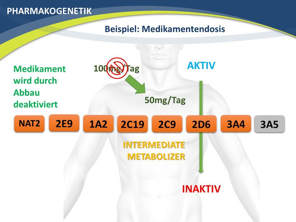 PHARMAKOGENETIK Beispiel: Medikamentendosis 3A42C192E9 NAT2 AKTIV 2C91A22D6 INAKTIV INTERMEDIATE METABOLIZER 50mg/Tag 100mg/Tag Medikament wird durch Abbau deaktiviert 3A5