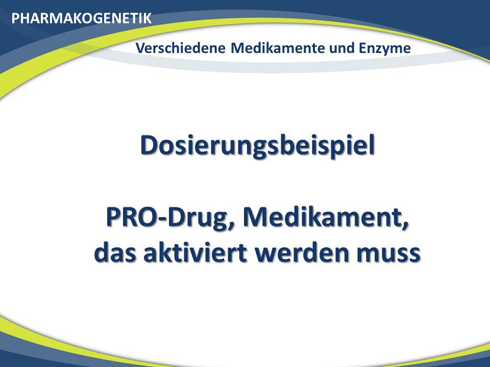 PHARMAKOGENETIK Verschiedene Medikamente und Enzyme Dosierungsbeispiel PRO-Drug, Medikament, das aktiviert werden muss