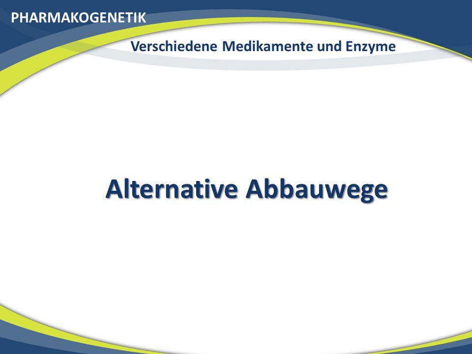 PHARMAKOGENETIK Verschiedene Medikamente und Enzyme Alternative Abbauwege