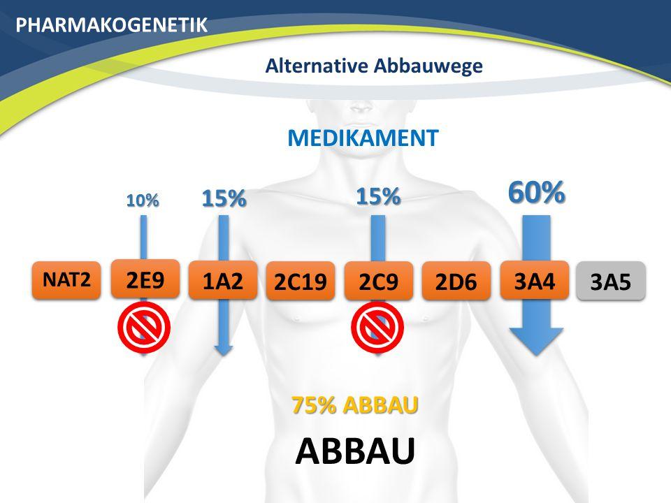 60% PHARMAKOGENETIK Alternative Abbauwege ABBAU 3A42C19 NAT2 2D6 MEDIKAMENT 2C91A22E9 60% 15% 10% 15% 160% ABBAU 3A5