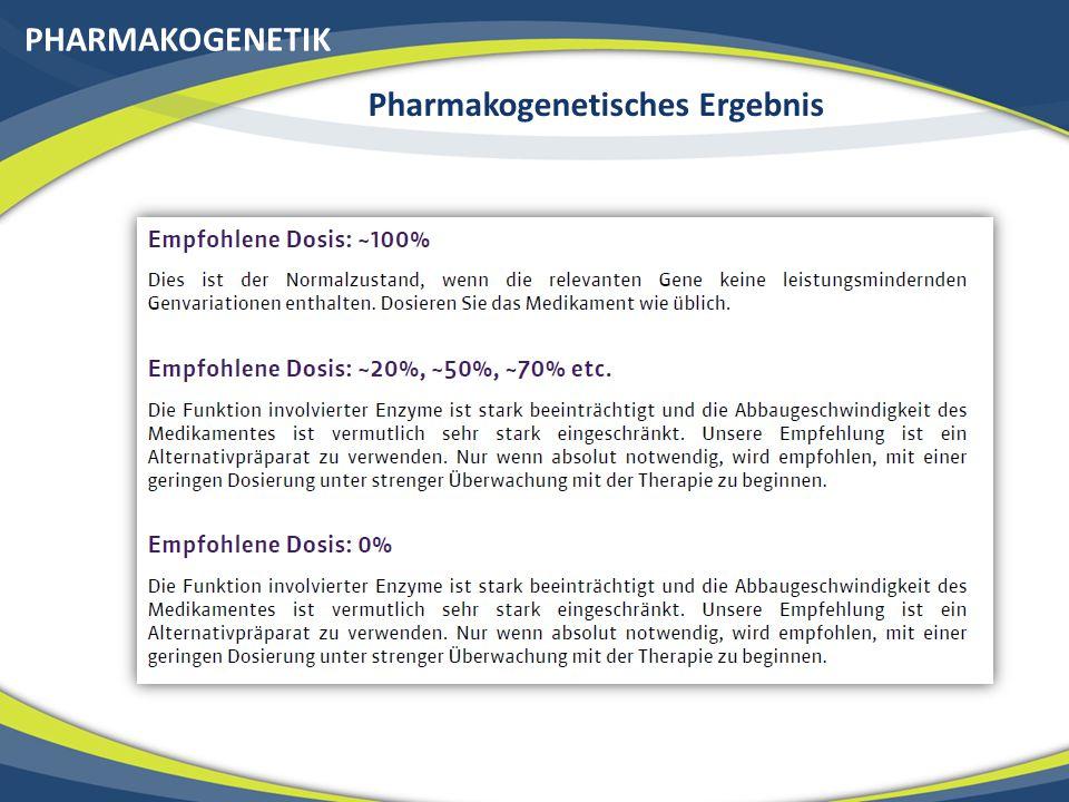 PHARMAKOGENETIK PHARMACO SENSOR ~260 Wirkstoffe werden genetisch ausgewertet Komplexe Prozesse wie Alternativabbauwege werden von uns berücksichtigt 8 Medikamentenenzyme werden analysiert Abbaurate von Wirkstoff wird eingeschätzt Pro-Drug Aktivierung wird berücksichtigt Dosisempfehlung wird gegeben