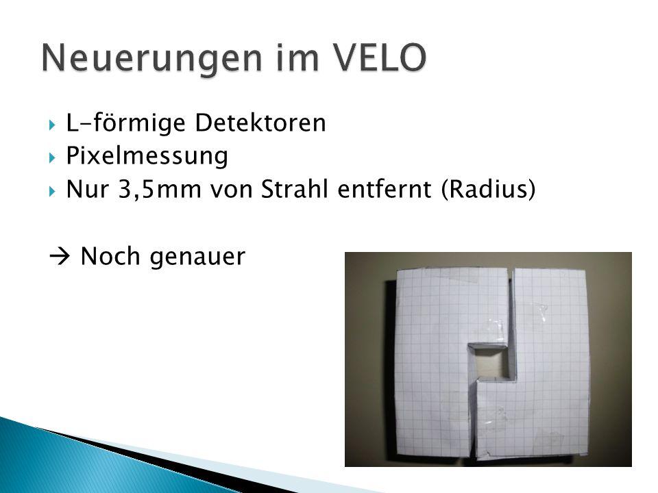  L-förmige Detektoren  Pixelmessung  Nur 3,5mm von Strahl entfernt (Radius)  Noch genauer