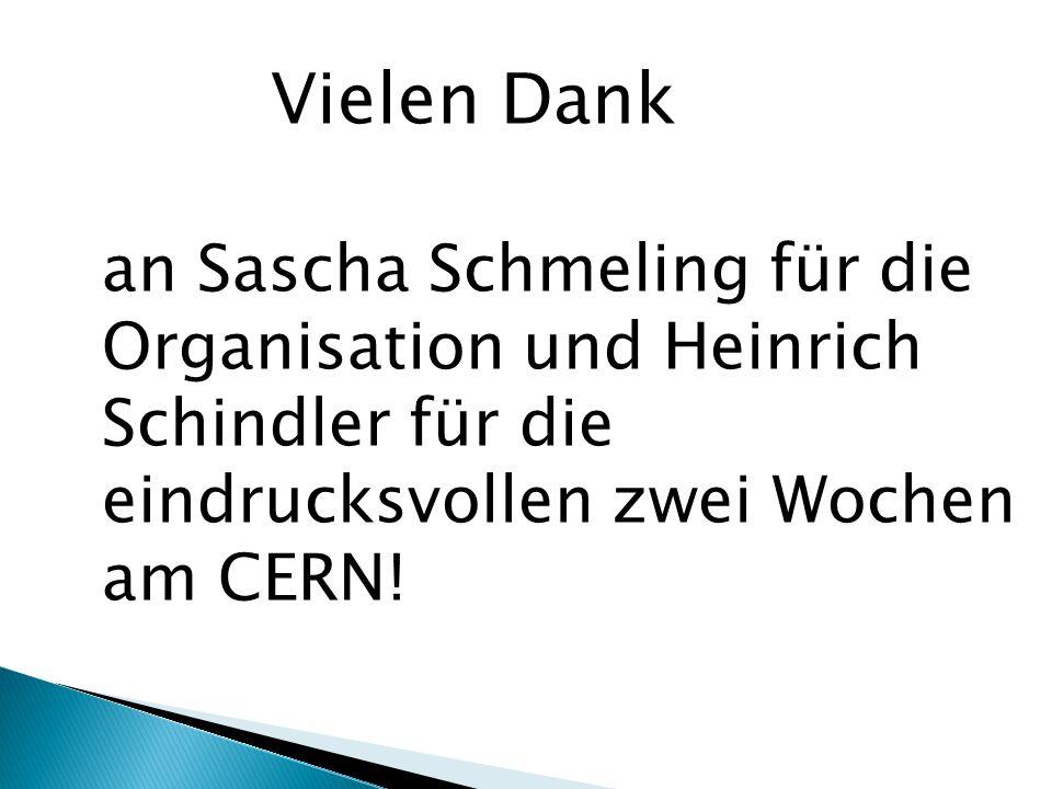 Vielen Dank an Sascha Schmeling für die Organisation und Heinrich Schindler für die eindrucksvollen zwei Wochen am CERN!