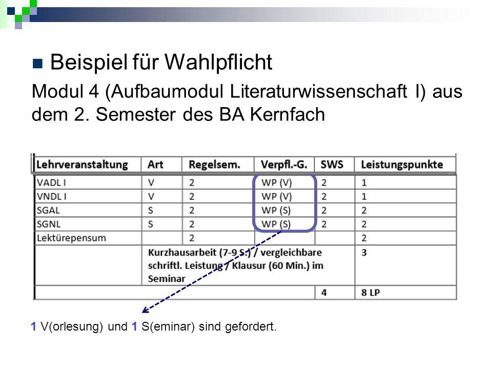Beispiel für Wahlpflicht Modul 4 (Aufbaumodul Literaturwissenschaft I) aus dem 2. Semester des BA Kernfach 1 V(orlesung) und 1 S(eminar) sind geforder