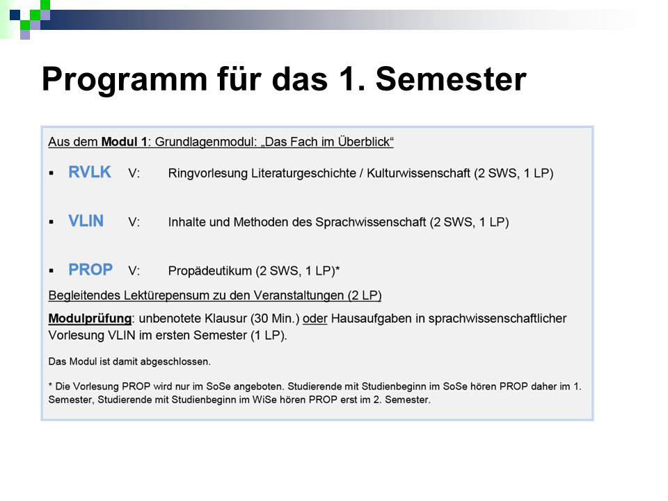 Programm für das 1. Semester