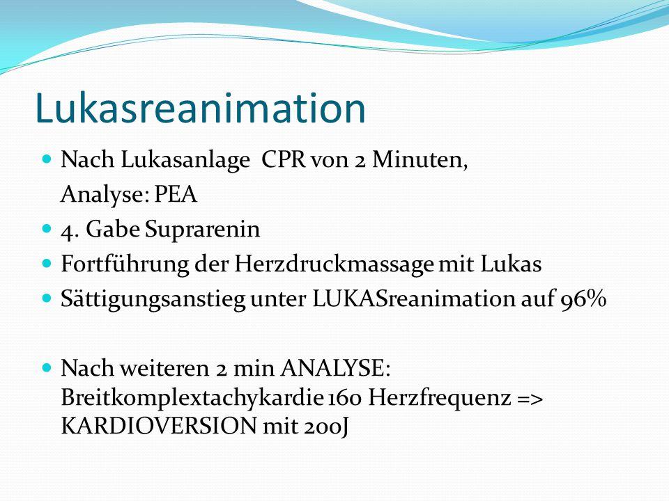 Lukasreanimation Nach Lukasanlage CPR von 2 Minuten, Analyse: PEA 4.