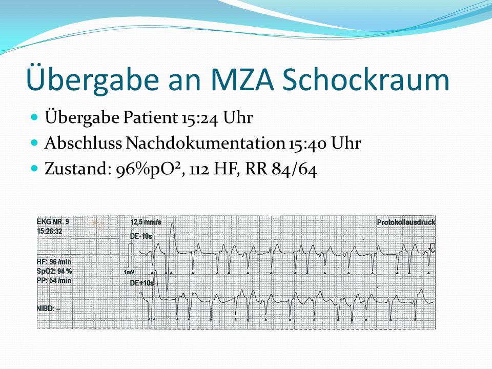 Übergabe an MZA Schockraum Übergabe Patient 15:24 Uhr Abschluss Nachdokumentation 15:40 Uhr Zustand: 96%pO², 112 HF, RR 84/64
