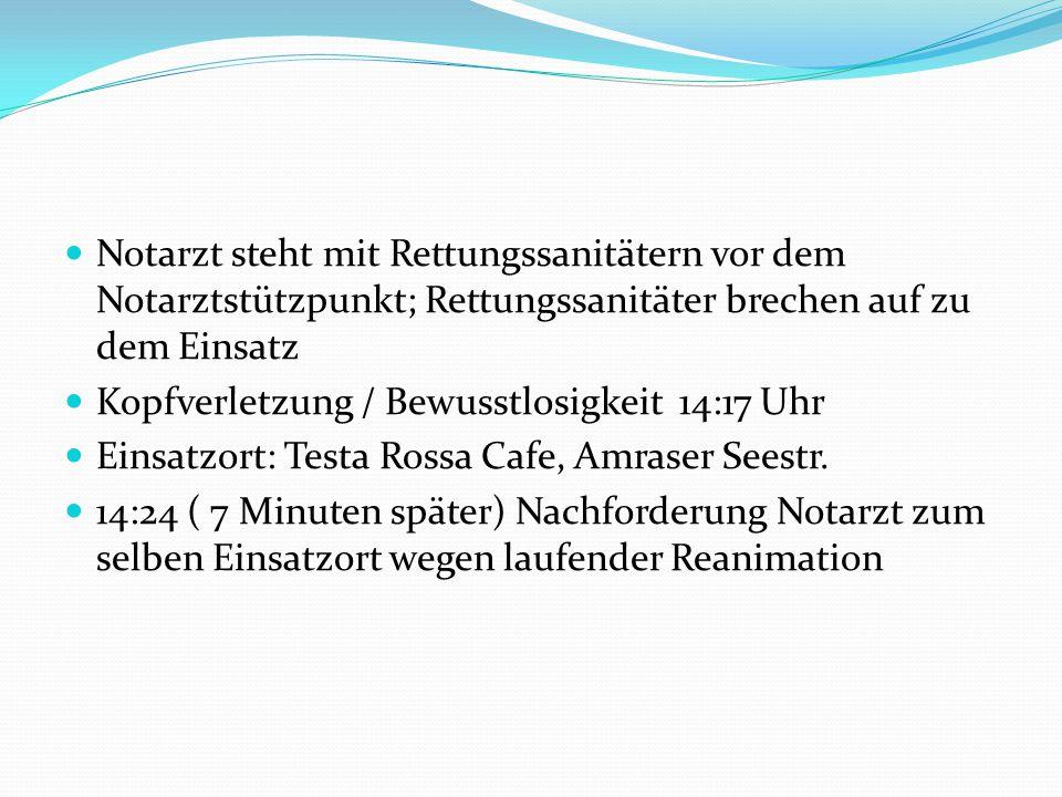 Notarzt steht mit Rettungssanitätern vor dem Notarztstützpunkt; Rettungssanitäter brechen auf zu dem Einsatz Kopfverletzung / Bewusstlosigkeit 14:17 Uhr Einsatzort: Testa Rossa Cafe, Amraser Seestr.