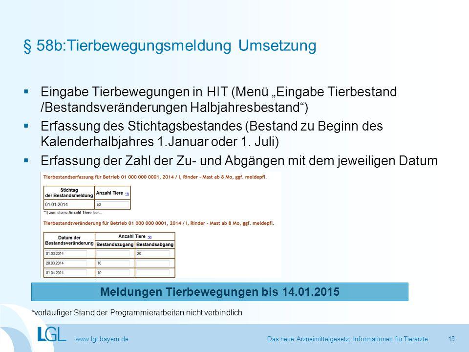 """www.lgl.bayern.de § 58b:Tierbewegungsmeldung Umsetzung  Eingabe Tierbewegungen in HIT (Menü """"Eingabe Tierbestand /Bestandsveränderungen Halbjahresbes"""