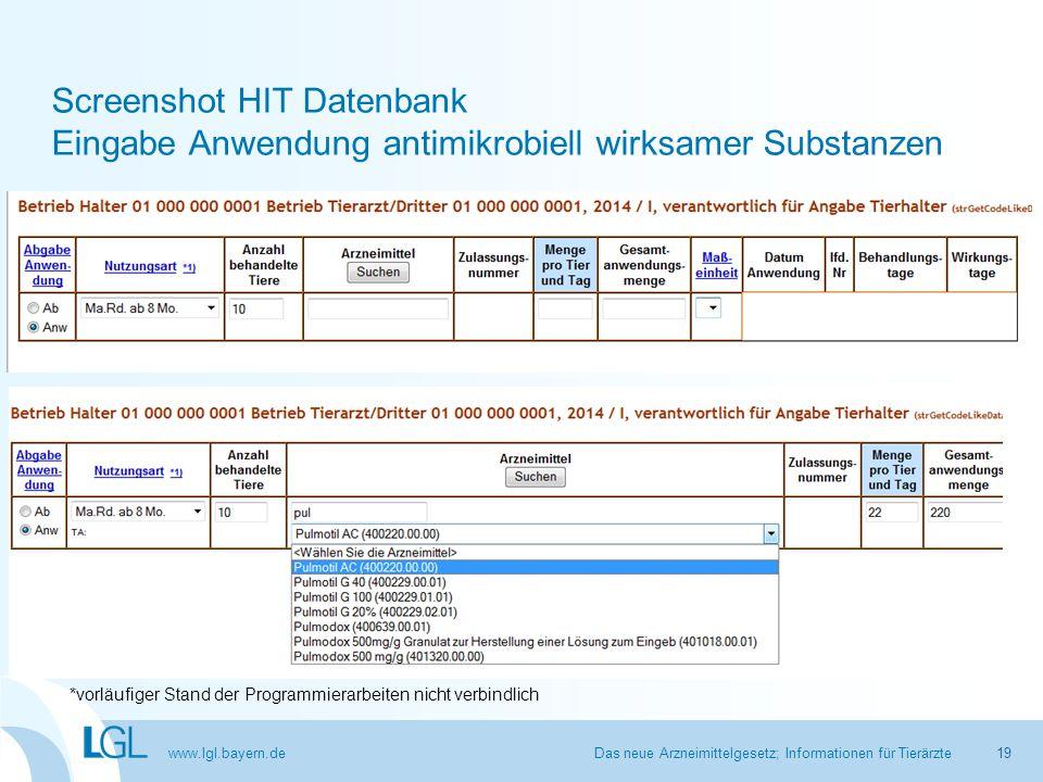 www.lgl.bayern.de Screenshot HIT Datenbank Eingabe Anwendung antimikrobiell wirksamer Substanzen Das neue Arzneimittelgesetz; Informationen für Tierär