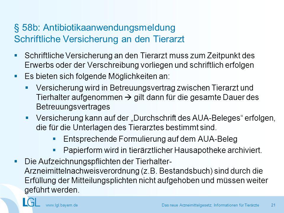 www.lgl.bayern.de § 58b: Antibiotikaanwendungsmeldung Schriftliche Versicherung an den Tierarzt  Schriftliche Versicherung an den Tierarzt muss zum Z