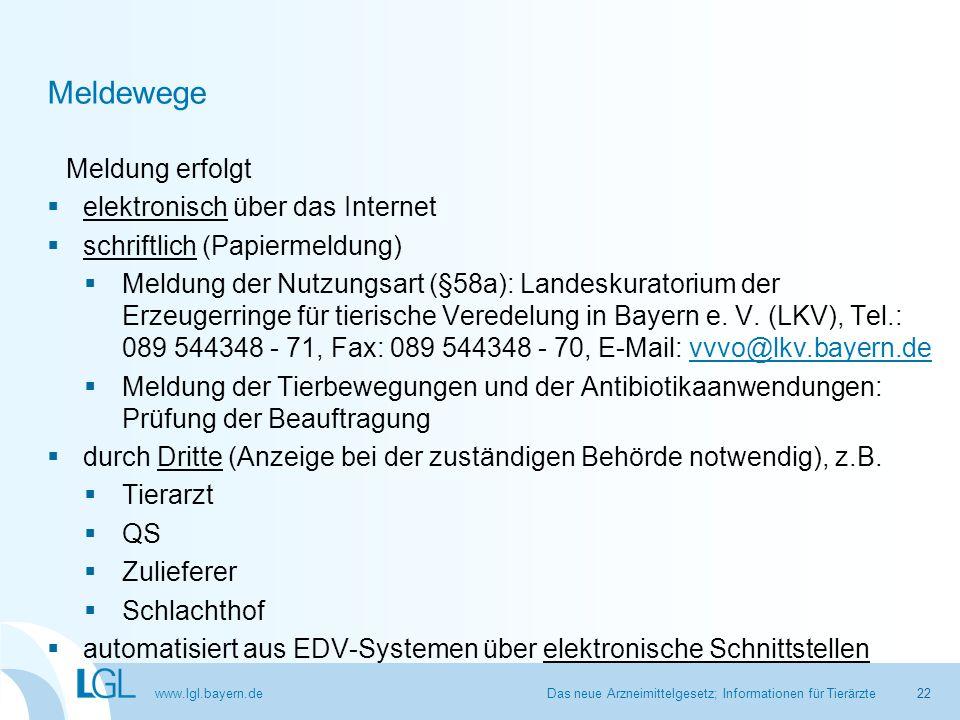 www.lgl.bayern.de Meldewege Meldung erfolgt  elektronisch über das Internet  schriftlich (Papiermeldung)  Meldung der Nutzungsart (§58a): Landeskur