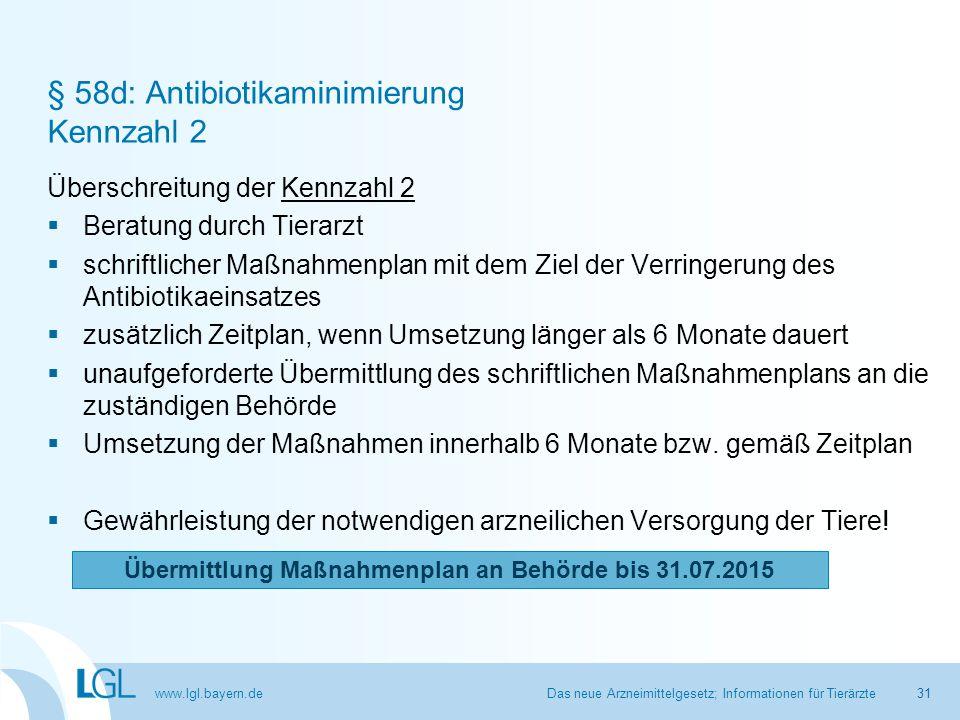 www.lgl.bayern.de § 58d: Antibiotikaminimierung Kennzahl 2 Überschreitung der Kennzahl 2  Beratung durch Tierarzt  schriftlicher Maßnahmenplan mit d