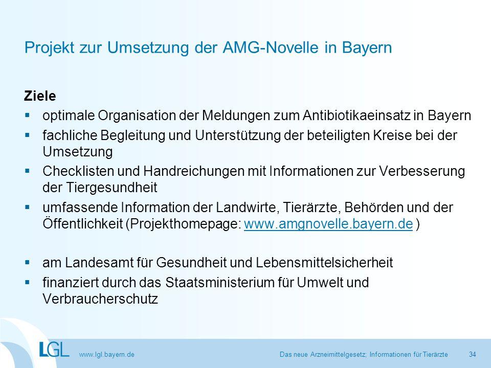 www.lgl.bayern.de Das neue Arzneimittelgesetz; Informationen für Tierärzte Projekt zur Umsetzung der AMG-Novelle in Bayern Ziele  optimale Organisati