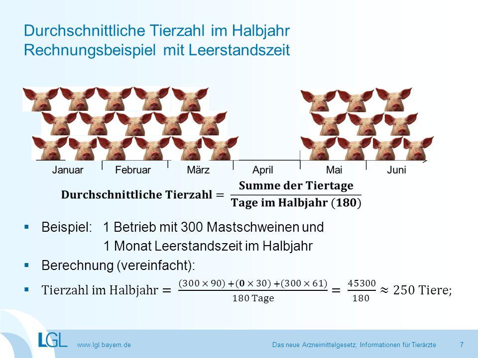 www.lgl.bayern.de Durchschnittliche Tierzahl im Halbjahr Rechnungsbeispiel mit Leerstandszeit Das neue Arzneimittelgesetz; Informationen für Tierärzte