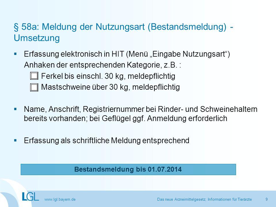 """www.lgl.bayern.de § 58a: Meldung der Nutzungsart (Bestandsmeldung) - Umsetzung  Erfassung elektronisch in HIT (Menü """"Eingabe Nutzungsart"""") Anhaken de"""