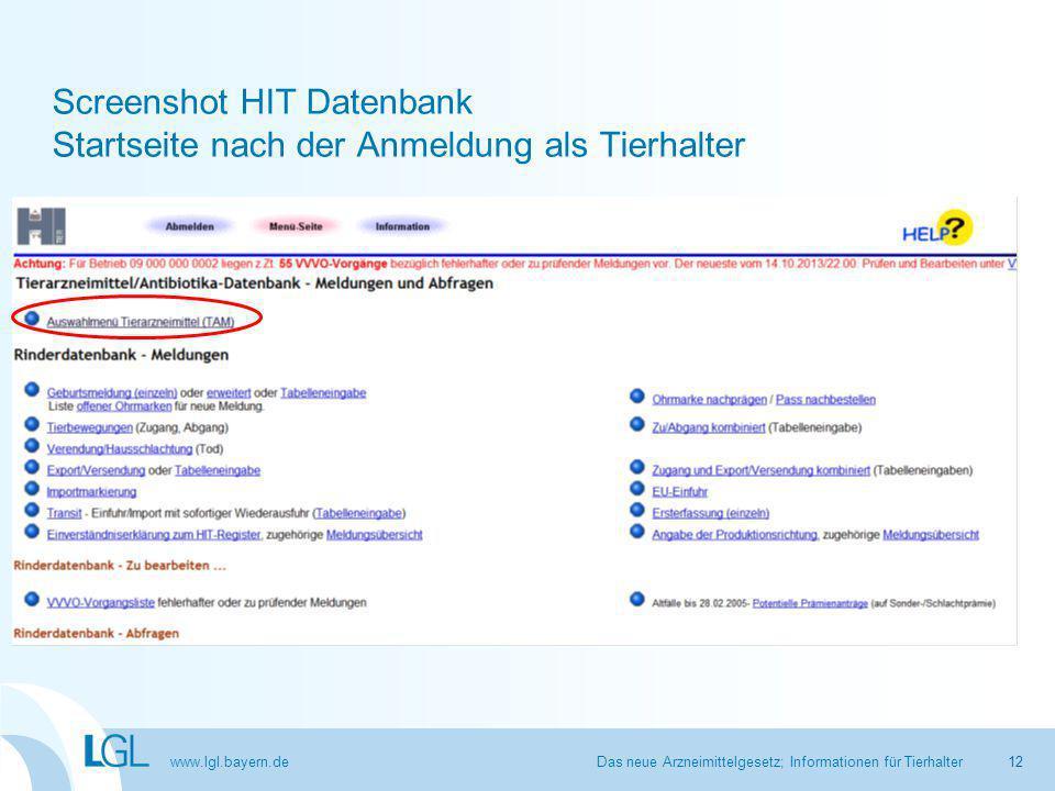 www.lgl.bayern.de Screenshot HIT Datenbank Startseite nach der Anmeldung als Tierhalter Das neue Arzneimittelgesetz; Informationen für Tierhalter12