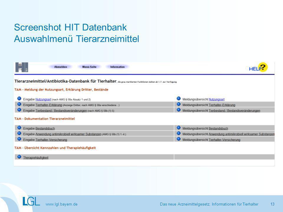 www.lgl.bayern.de Screenshot HIT Datenbank Auswahlmenü Tierarzneimittel Das neue Arzneimittelgesetz; Informationen für Tierhalter13